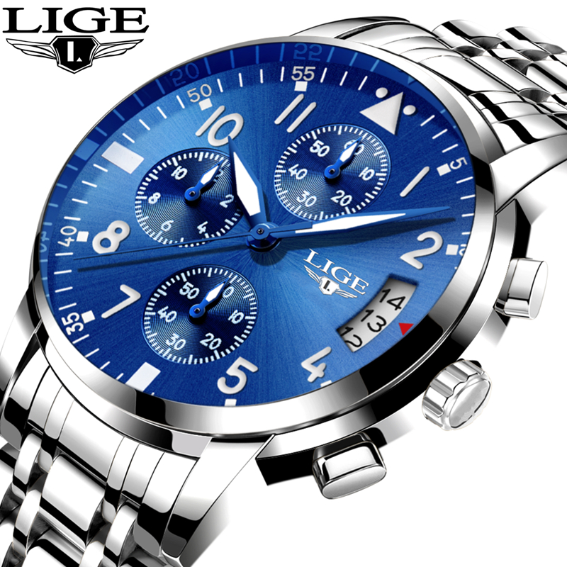 LIGE Mens Watches Top Brand Luxury Men Fashion Business Quartz Watch Man Stopwatch Waterproof Sport Clock relogio masculino+box lige new men watches top brand luxury men s fashion sport quartz watch man multifunction date waterproof clock relogio masculino