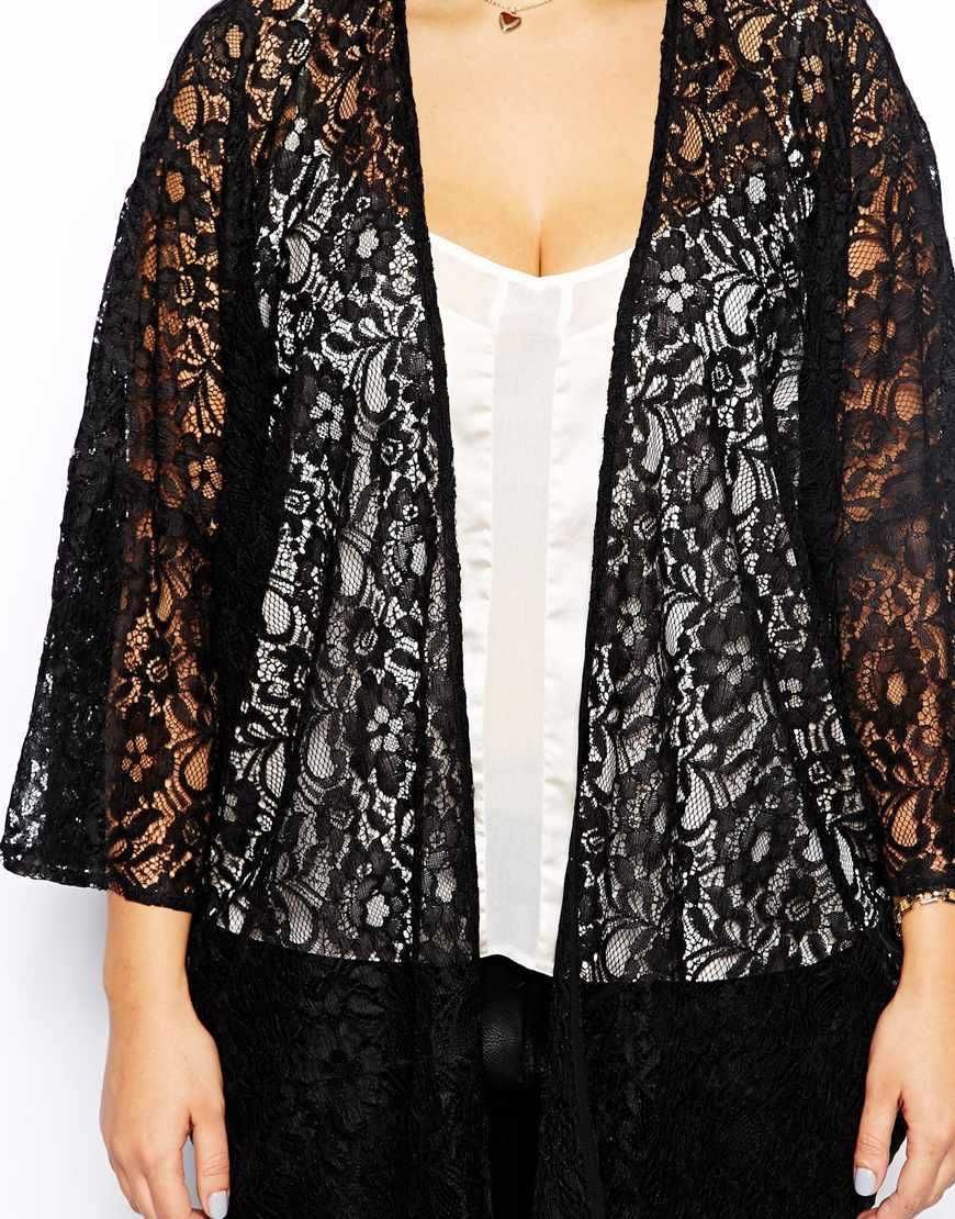 Plus Size Black Lace Cardigan_Black Dresses_dressesss
