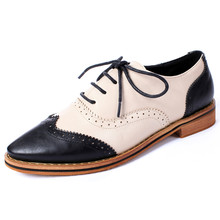 Oxford Shoes for Women 2016 Women Spring Shoes Leather Brogues Pointed Toe Lace Up Woman Shoes British Style Flats