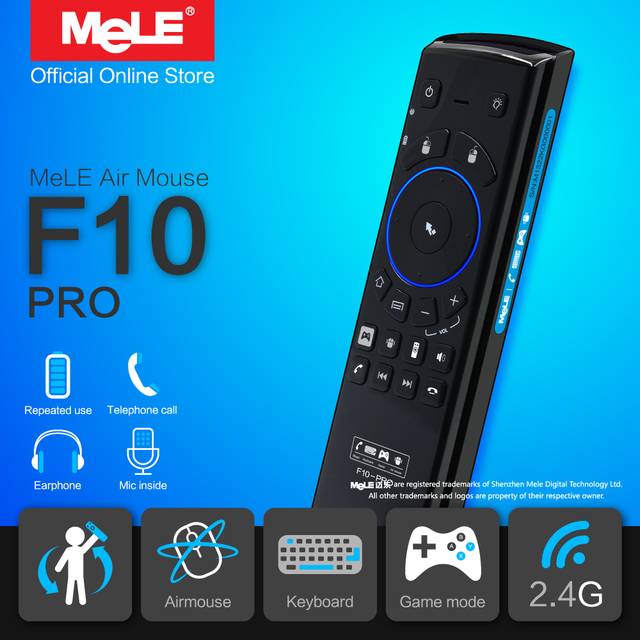 MeLE F10 Pro Wireless Keyboard Fly Air Mouse Remote Control 2.4GHz Earphone Microphone for Android TV Box Windows Mini PC