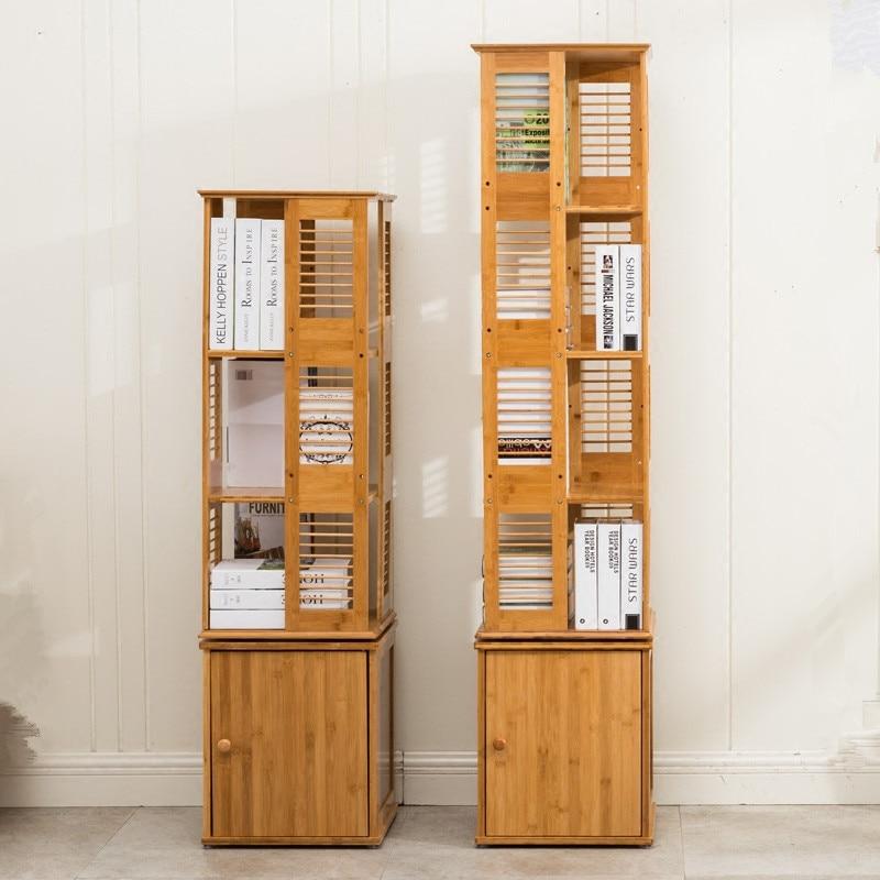 100% Natural Bamboo Bookshelf Revolving Bookcase 360 Rotating Organizer Cabinet Rack Book Shelf For Books, Magazine,CD Display