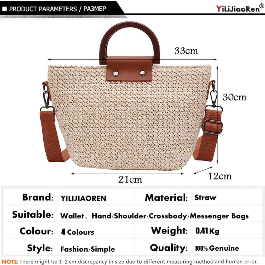 Fashion Woven Straw Handbags Women Big Summer Beach Bags Luxury Handbags Women Bags Designer Bohemian Shoulder Bag for Women Sac