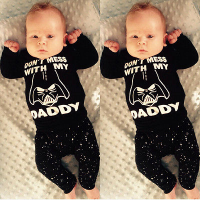 2Pcs Newborn Baby Boy Girl Star Wars Clothes Cotton T-shirt Tops+Long Pants Outfit Set 2pcs newborn baby boys clothes set gold letter mamas boy outfit t shirt pants kids autumn long sleeve tops baby boy clothes set