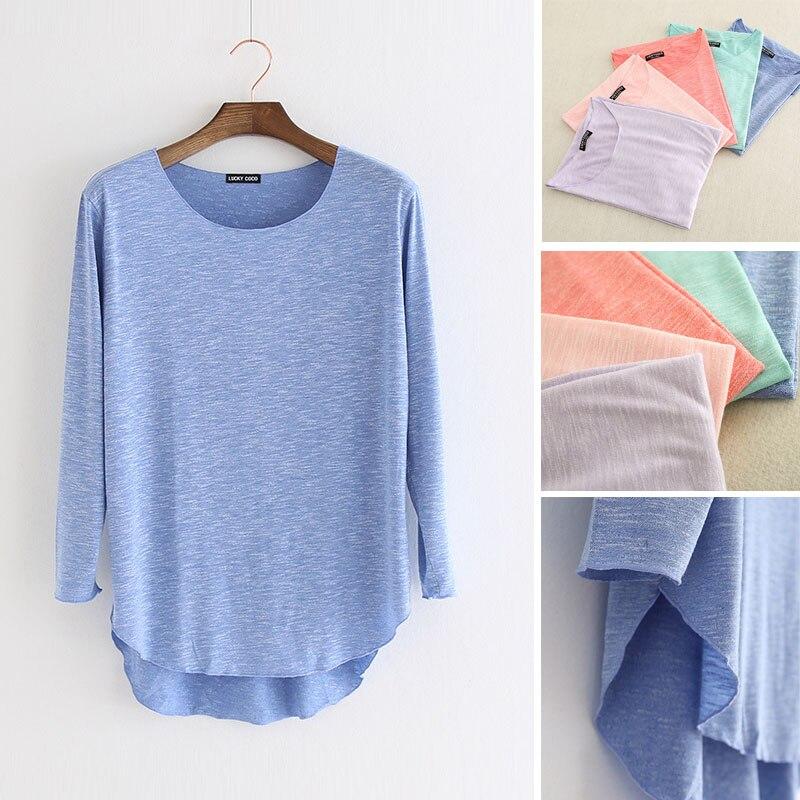 100% Bambus Faser Baumwolle Komfortable Weiche Sommer Langarm T-shirt Frauen T-shirt Tops O Neck Beiläufige Lose Asymmetrische T Hemd