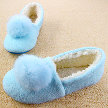 2016 Women Soft House Slippers Floor Mujer Shoes Rabbit Fur Winter Autumn Pink Hairy Balls Indoor Pantuflas Pantofole Donna Hot