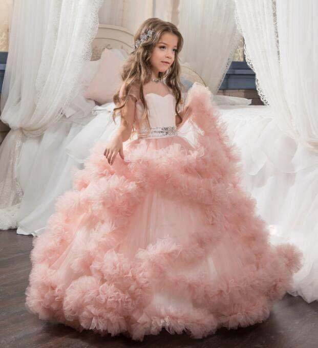 Великолепная Румяна Розовый цветок платья для девочек Кристаллы Тюль оборками Glitz Pageant наряд для вечерние Танцы День рождения Дети причасти