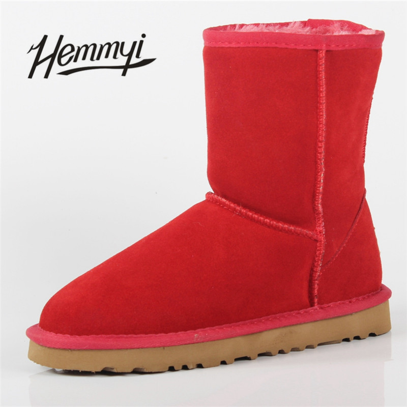 Hemmyi Free Shipping New Fur Classic Mujer Botas Waterproof Genuine Leather Mid-calf Snow Boots Winter Shoes for Women Unisex