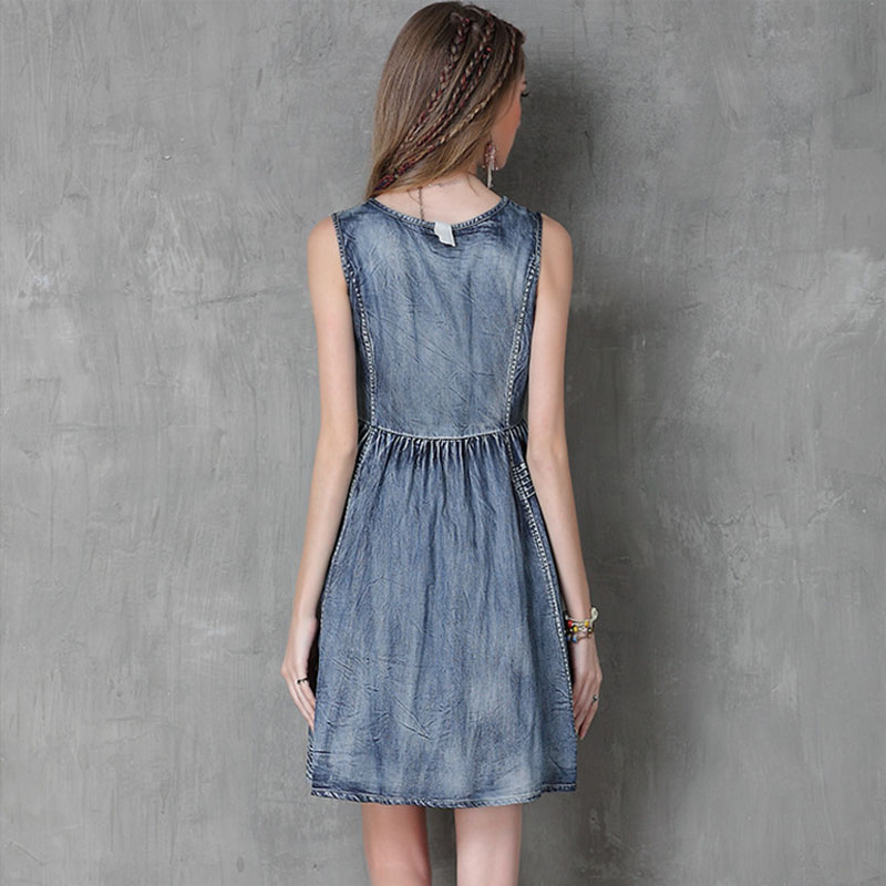 Robes Boho Wear Gothique Denim Dames Vintage Streetwear Robe D'été 2018 Élégant Soirée De Sans Bleu Femmes Manches Parti Club Rétro 7Zv4wqS