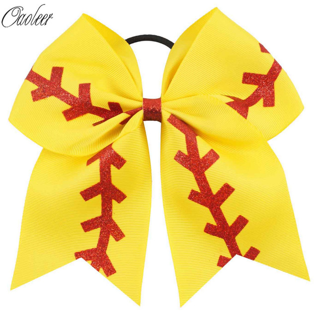 Yellow Ribbon Red Glitter Hair Bows For Kids