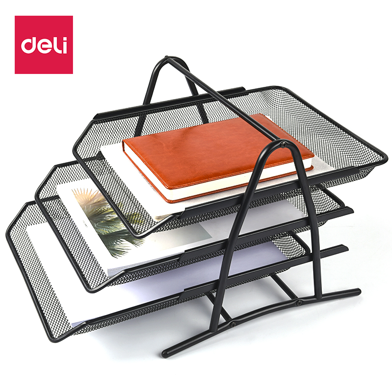 DELI File Tray Three-layer Metal Grid File Holder Drawer Type File Frame Document Trays Office Supplies Office School Supplies deli mesh three layer metal file trays holder a4 organizer paper holder document folder school supplies business folder