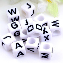 10pcs 6mm DIY Square Acrylic alphabet Spacer Loose Beads For Necklace Bracelet English Letter Beads Charms bisuteria Jewelry(China)