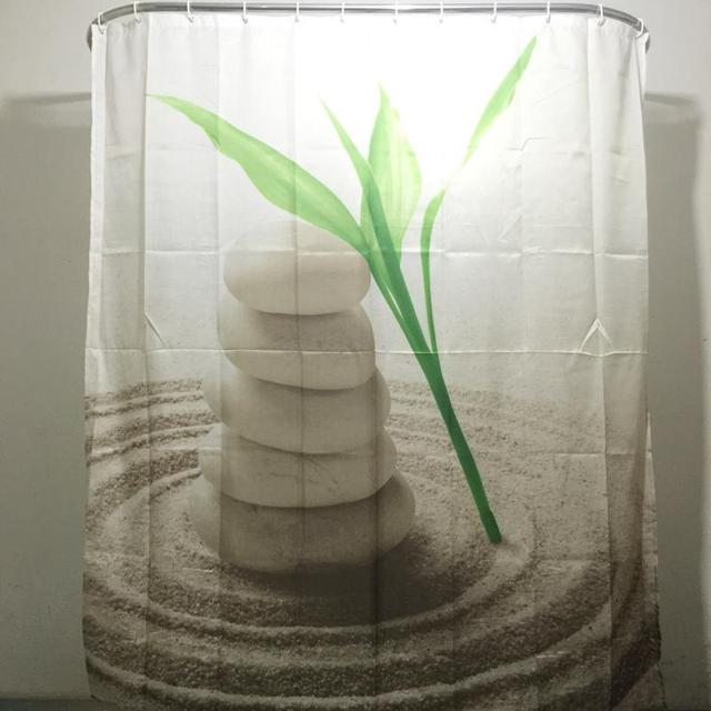 Green Leaves Stones Design Shower Curtain Bathroom Waterproof Polyester With 12 Hooks 180cm200cm