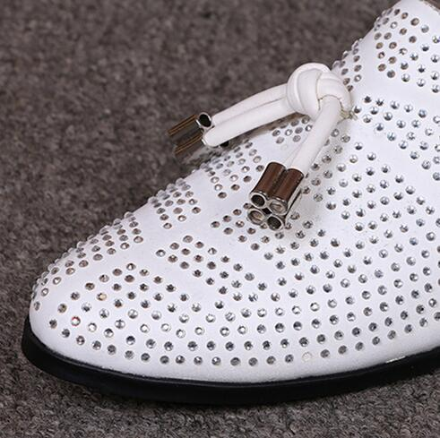 Mocassins Espadrilles Appartements Cuir Top Blanc Hommes Chaussures Robe En Mens Casual Strass Bateau Cloutés Mans Ap1Bq1S