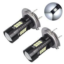 2 sztuk LED światła przeciwmgielne dla samochodów 12V DC H7 3030 21 LED Lights biały 6500K samochodów światła przeciwmgielne lampy reflektor żarówki dla samochodów