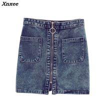 INS 2018 SUMEMR fashion Women High Waist Front zip Denim Skirt Casual Zipper A-line Mini Skirts Pocket Wrapover Jeans Skirt zip front pu skirt