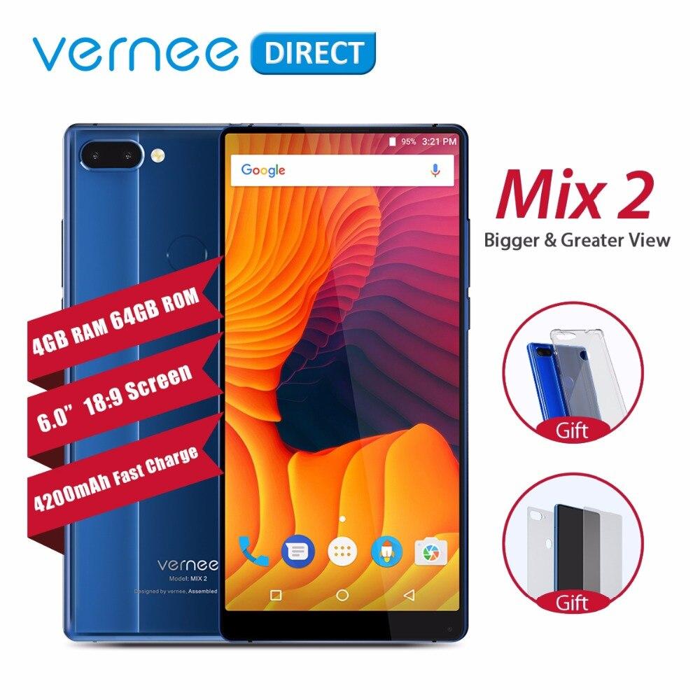 D'origine Vernee Mix 2 Double Caméra Smartphone 4 GB 64 GB 6.0 Pouces 18:9 Écran Retour Verre Conception Android 7.0 13MP Téléphone Portable 4200 mAh