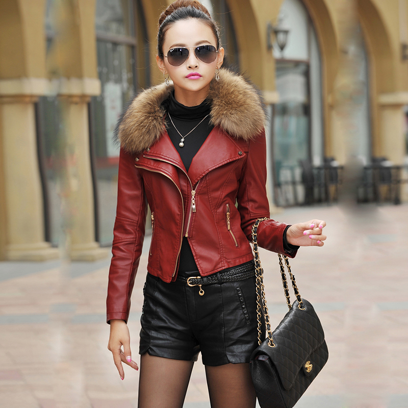 Real fur black red green soft real leather zip Plus Size L Fashion 2018 Autumn Winter