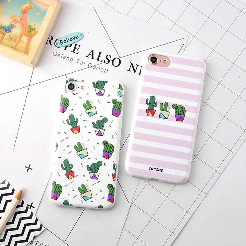 Cute Cactus Silicone Iphone 7 7Plus 8Plus For Coque Iphone 6 6S 6Plus Case Soft TPU For Iphone 6S Plus Case