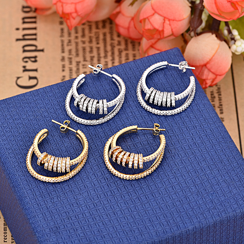 Double-line Multi-circle AAA Zircon Earrings High Quality Fashion Earring Jewelry For Women ZK40