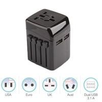 Original 2 USB Port Universal International Plug AdapterWorld Travel AC Power Charger Adaptor With AU US