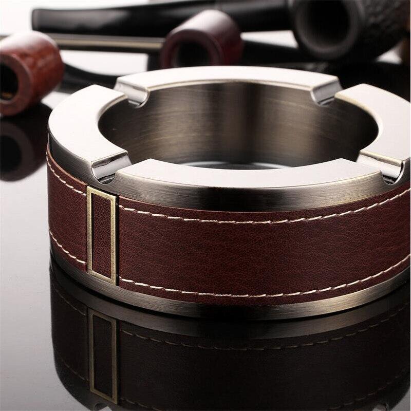 Stainless Steel Cigar Ashtray Cigarette Cigars Ashtrays Beautiful Round Shape Cigars Ashtrays Home Accessories For Men JJ030
