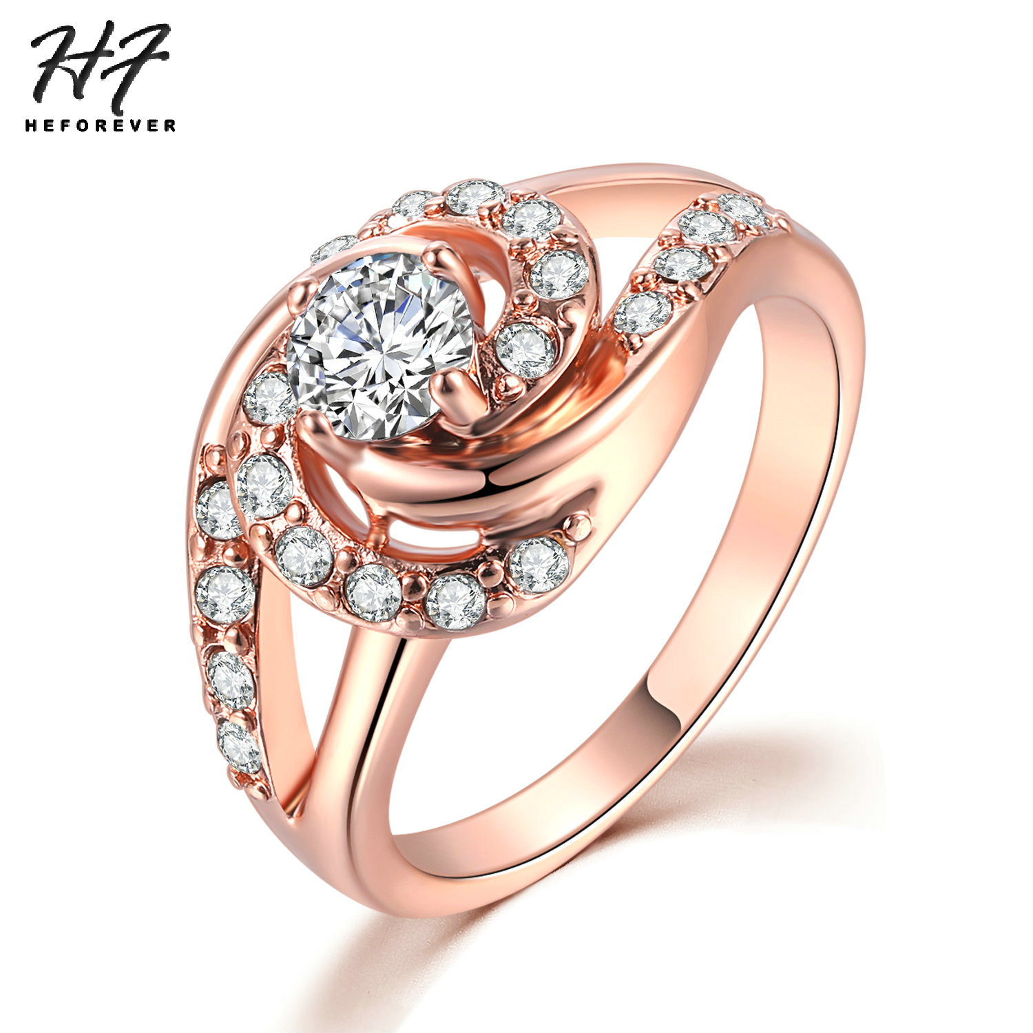 Lady Finger Jewelry Clear Round Cubic Zircon 18 K Gold Plated Copper Noble Ring
