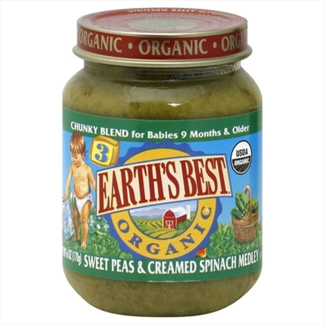 Earthsbest Baby Food-Sweet Pea/Spinach95% Organic 6-Ounce -Pack of 12 talkingrain sparkling water lemon lime 16 9 ounce pack of 24