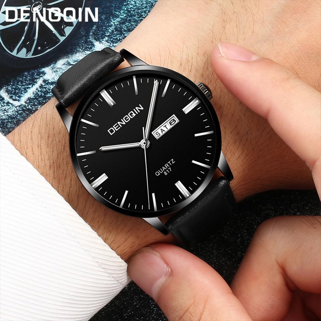 Man Watch Luxury Quartz Sport Military Stainless Steel Dial Leather Band Wrist Watch zegarki meskie reloj hombre marca de lujo