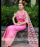 Thailand special clothing Thai Dai traditional shoulder sleeveless veil with straight slit pink blossom Minority costume