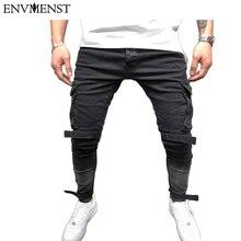 9e0987b0ce 2018 Envmenst marca diseñado Jeans rasgados para hombres moda parche dobladillo  pantalones de los hombres Biker