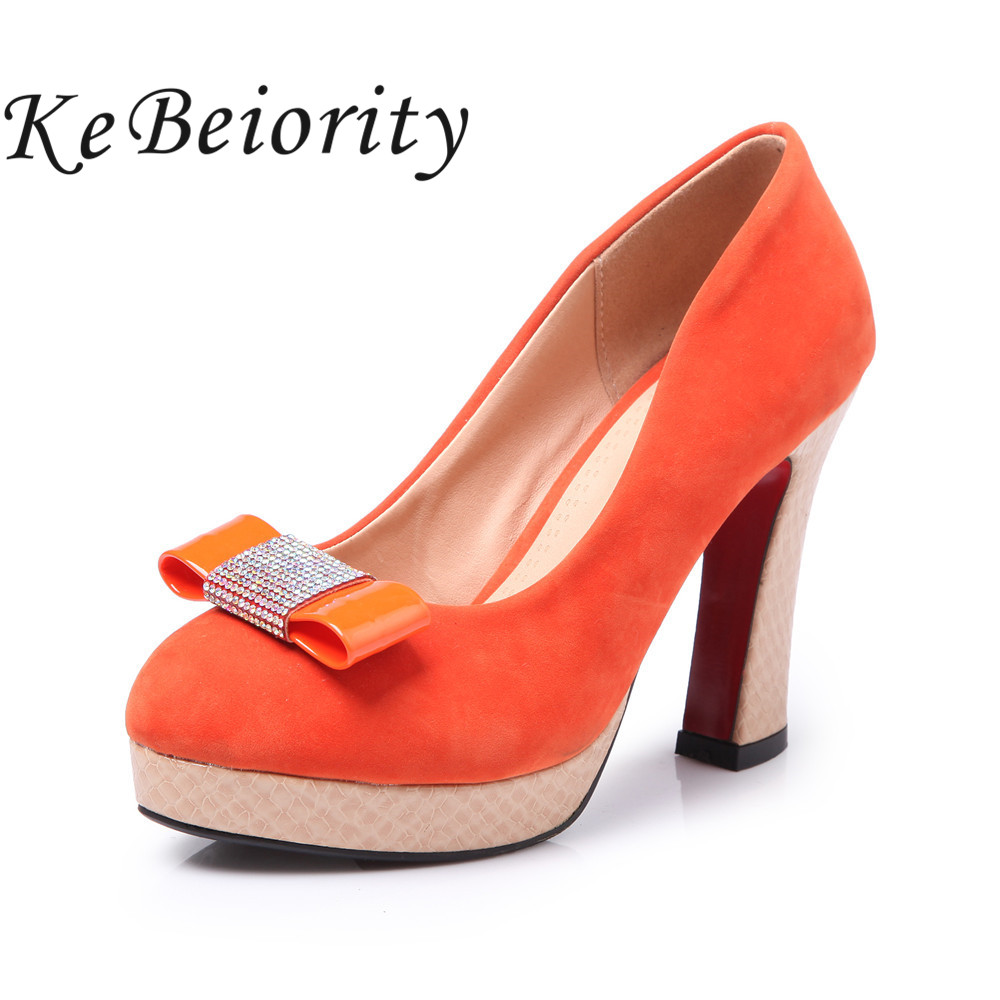 ФОТО Fashion high heels shoes woman pink bow heels women pumps high heels stilettos orange wedding shoes women platform pumps