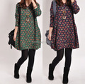 2016 New Winter Dress Women Long Sleeve Plus Size Print Woman Dress Warm Thicken Cotton Tunic Vestido Blue,Green