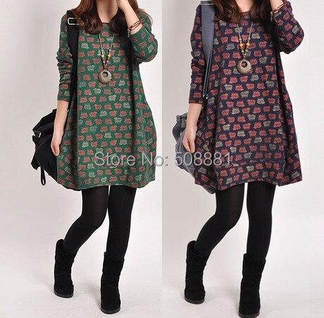 2016 Nouvelle Robe D hiver Femmes Manches Longues Plus La Taille Imprimer Femme  Robe Chaud 8230a4ba5b84