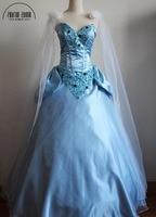 Top Qualidade Cinderela Princesa Cosplay Traje Cinderela Vestido de Estilo de Moda Com Cristal Para Mulheres Adultas Trajes de Halloween