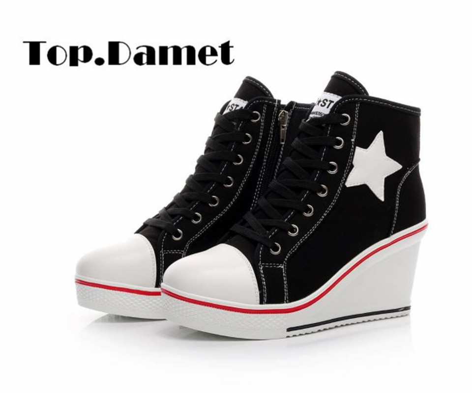Top.Damet Fashion Woman Sneakers Spring Autumn Casual Breathable Shoes Solid Color Wedge Heel Zip Canvas Shoe Woman Plus Size