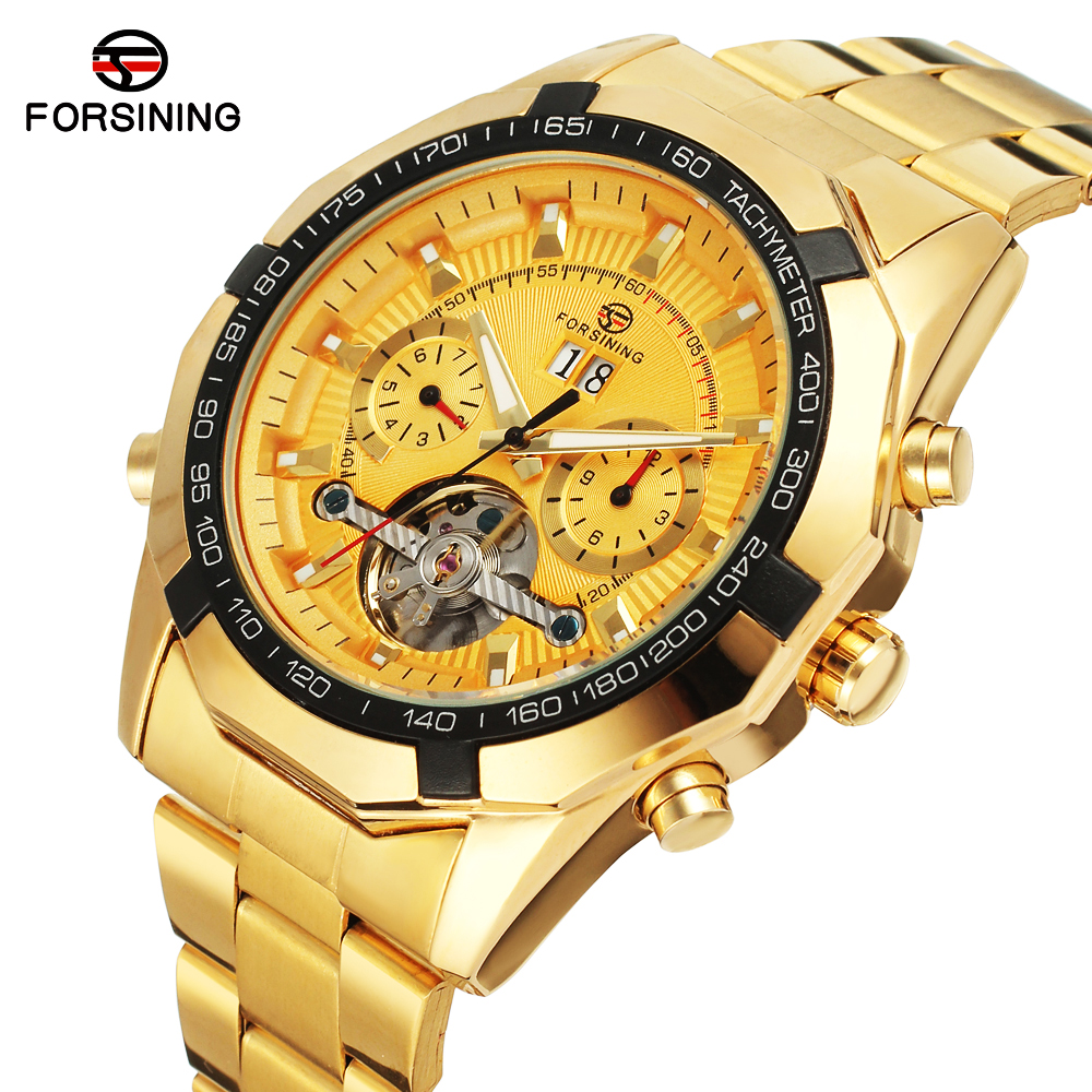 2017 Gold Watches Men Automatic Watch Day Date Calendar Display High Quality Mechanical Tourbillon Watch Luxury Brand Clock Male forsining multifunction tourbillon date day display rose golden watch men luxury brand automatic watch fashion men sport watches