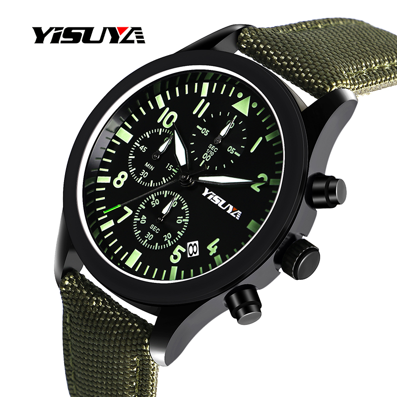 цена на YISUYA Sport Watch Men Luminous Waterproof Quartz Date Chronograph Leather+Nylon Green Band Pilot Luxury Dress Military