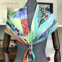 [HOHLAI] Marke Charater Frauen Muslimischen Kopf Schal Wraps Mode Zubehör Damen Rot Satin Platz Schals Winter Silk Schal cape