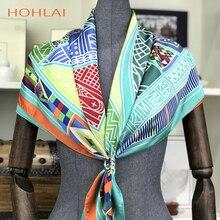 HOHLAI bufanda de seda para mujer, pañuelo para la cabeza musulmán, Charater, accesorios de moda, bufandas cuadradas de satén rojo, capa de bufanda de invierno