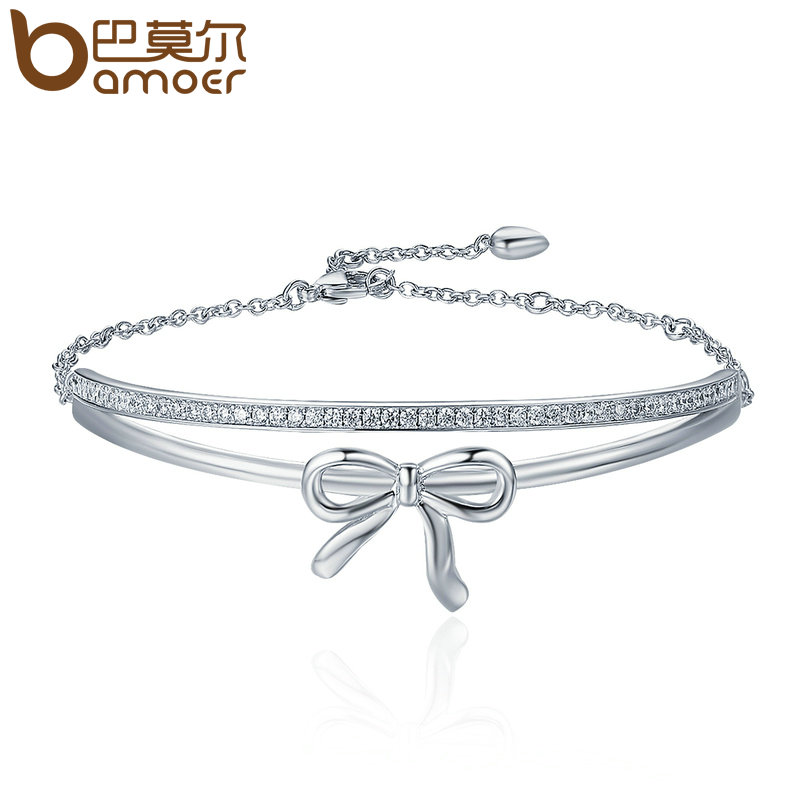 BAMOER Sweet New Silver Color Double Layer Bowknot Tennis Bracelet Lace up Strand Bracelets for Women Fine Jewelry YIB034 все цены