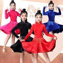 2019 Girl Long sleeves Standard Latin Dance Dress Children Ballroom Dance Dresses Kids Salsa Rumba Cha Cha Samba Tango Dress