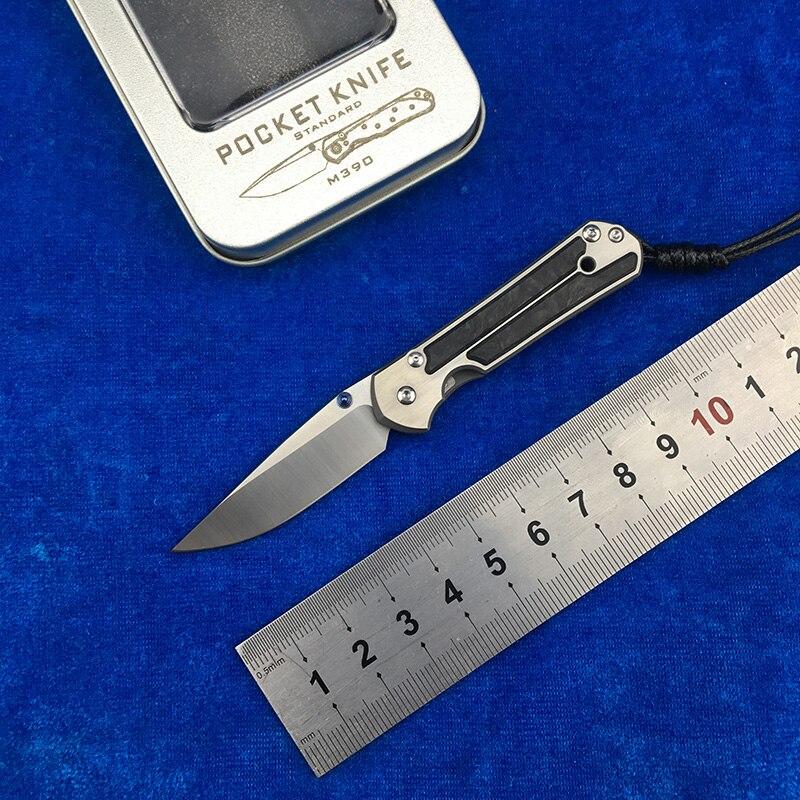 Kevin John Mini trompette Sebenza 21 Flipper M390 lame couteau pliant titane fibre de carbone poignée Camping extérieur EDC outils