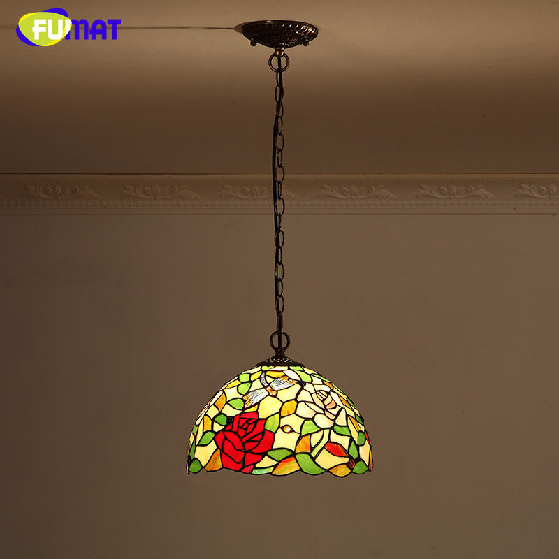 FUMAT Rose Lamp Shade Pendant Lamp European Style Stained glass Kitchen Lights Warm Art Coffee Bar Living Room Pendant Lights fumat stained glass pendant lights garden art lamp dinner room restaurant suspension lamp orchids rose grape glass lamp lighting