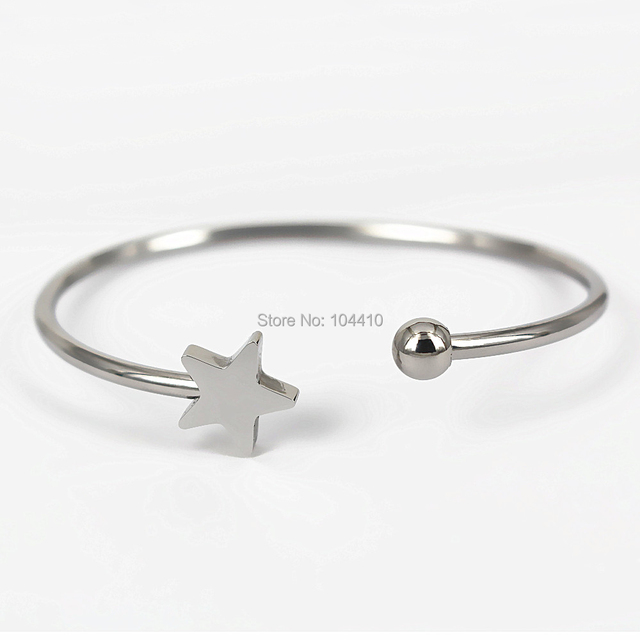 61mm Stainless Steel Open Cuff Bangles Bracelets Cute Star Ball Charms S Women Wrist Bangle No