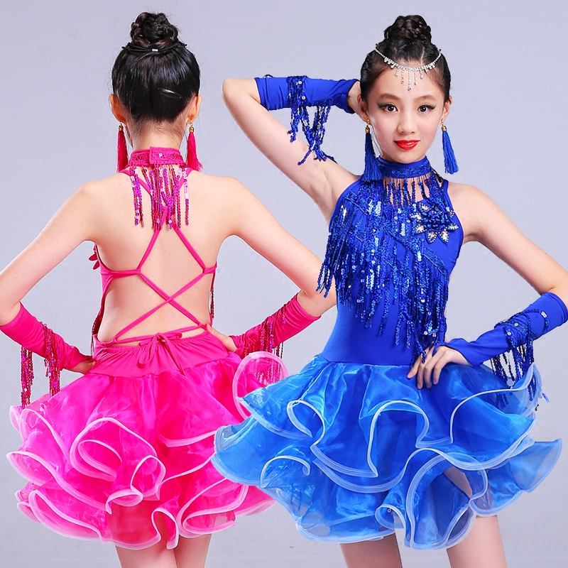 2018 New Latin Dance Dress For Girls Fringe Sequins Tutu Skirt Kids Tango Clothes Competition Performance Wear Dresses DN1919