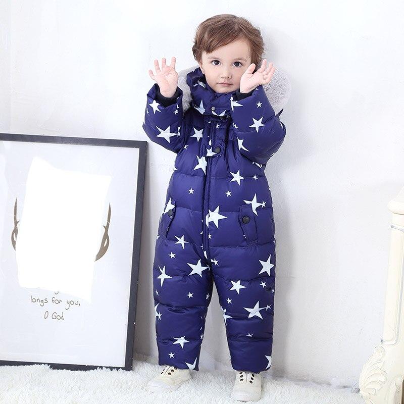 Doudoune bébé hiver épaississement combinaison fille imperméable duvet manteau garçon coupe-vent ski doudoune grand col en fourrure peluche tissu