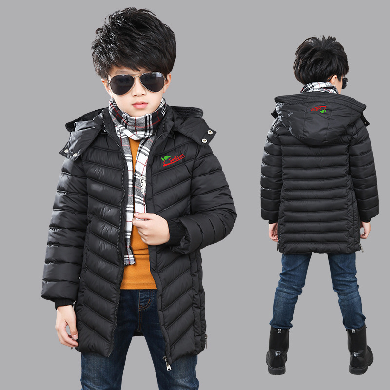 New Fashion Boy Parkas Winter Warm Jacket Coat 2018 Hooded Thick Solid Long Cotton-padded Jackets For 5-12T Boys High Quality new 2017 men winter black jacket parka warm coat with hood mens cotton padded jackets coats jaqueta masculina plus size nswt015