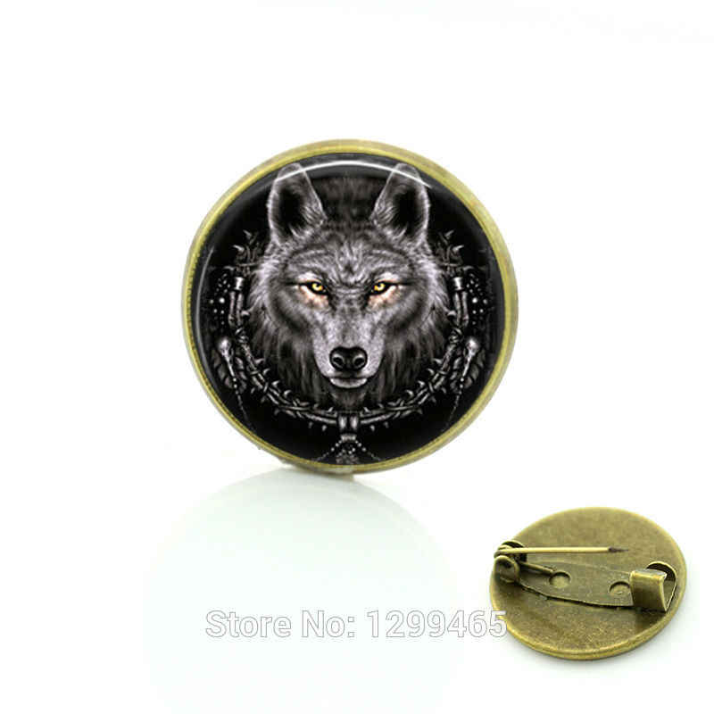 Animal jewelry Vintage Wolf Brooches pins jewelry Christmas gift  Dress Accessories Black Glass cabochon dome pin C177
