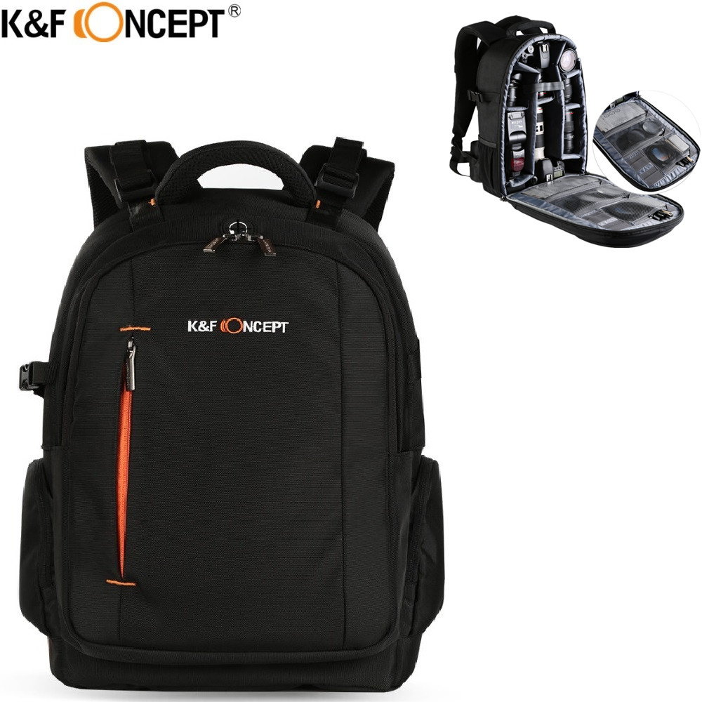 K&F CONCEPT Waterproof Camera Backpack Multi-functional DSLR SLR Camera/Video Bag hold 2 Cameras+Lenses+Accessories for Travel lowepro protactic 450 aw backpack rain professional slr for two cameras bag shoulder camera bag dslr 15 inch laptop