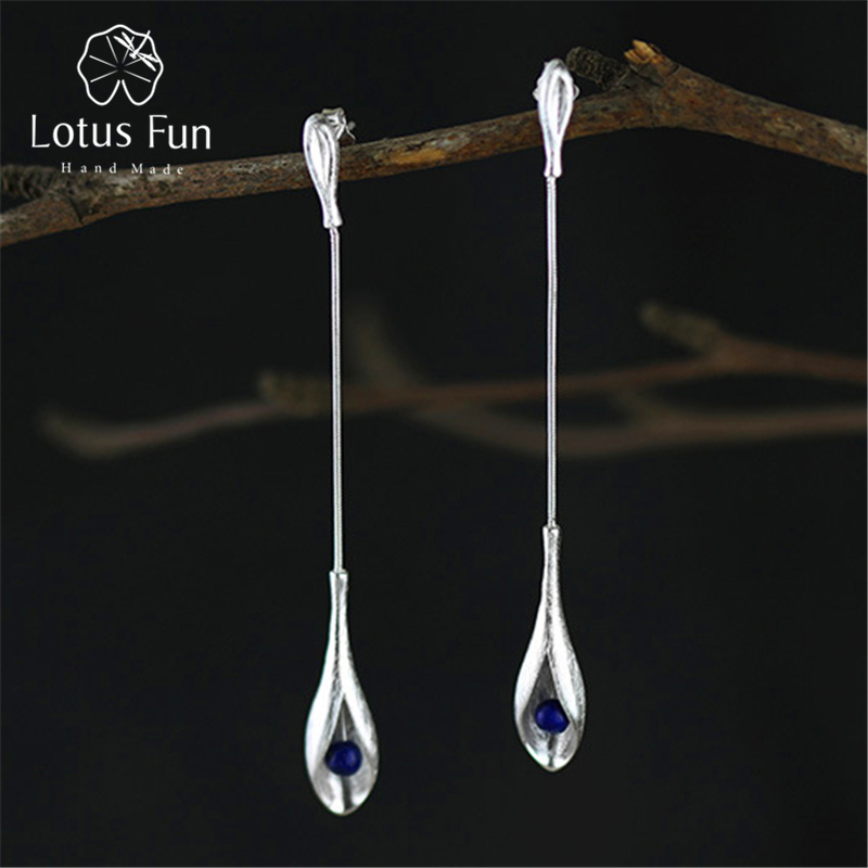 100% Wahr Lotus Spaß Echt 925 Sterling Silber Natürliche Lapis Handgemachtes Feine Schmuck Vintage Elegante Lange Baumeln Ohrringe Für Frauen Brincos